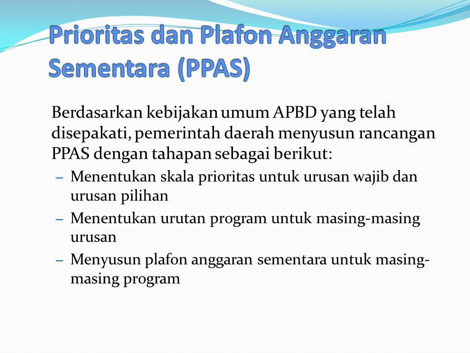 Berdasarkan kebijakan umum APBD yang telah disepakati, pemerintah daerah menyusun rancangan PPAS dengan tahapan sebagai berikut: – Menentukan skala prioritas untuk urusan wajib dan urusan pilihan – Menentukan urutan program untuk masing-masing urusan – Menyusun plafon anggaran sementara untuk masing- masing program