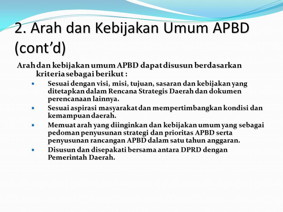 2. Arah dan Kebijakan Umum APBD (cont'd) Arah dan kebijakan umum APBD dapat disusun berdasarkan kriteria sebagai berikut : Sesuai dengan visi, misi, t