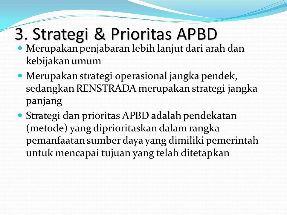 3. Strategi & Prioritas APBD Merupakan penjabaran lebih lanjut dari arah dan kebijakan umum Merupakan strategi operasional jangka pendek, sedangkan RE
