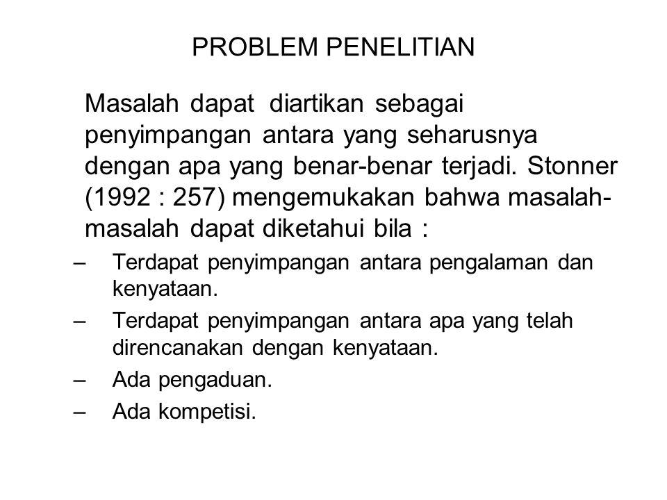 PROBLEM PENELITIAN Masalah dapat diartikan sebagai penyimpangan antara yang seharusnya dengan apa yang benar-benar terjadi. Stonner (1992 : 257) menge