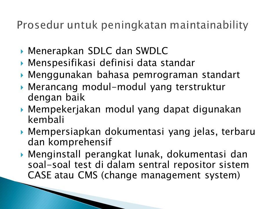  Menerapkan SDLC dan SWDLC  Menspesifikasi definisi data standar  Menggunakan bahasa pemrograman standart  Merancang modul-modul yang terstruktur