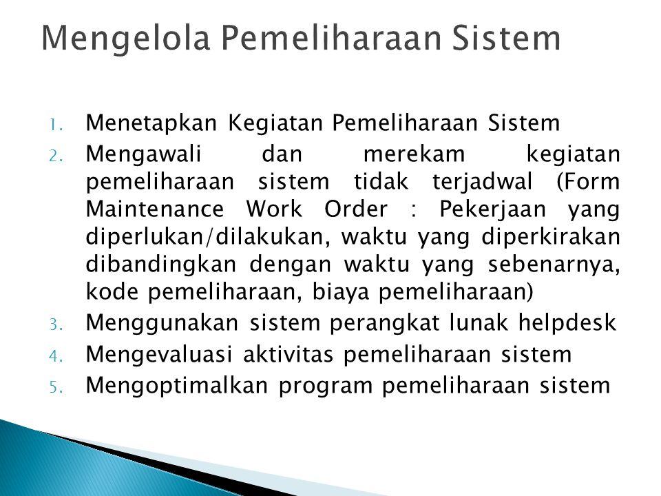 1. Menetapkan Kegiatan Pemeliharaan Sistem 2. Mengawali dan merekam kegiatan pemeliharaan sistem tidak terjadwal (Form Maintenance Work Order : Pekerj