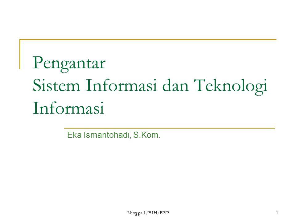Minggu 1/EIH/ERP1 Pengantar Sistem Informasi dan Teknologi Informasi Eka Ismantohadi, S.Kom.