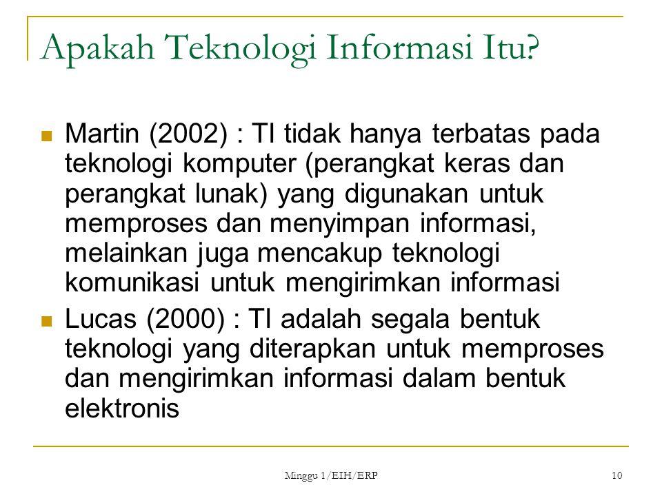 Minggu 1/EIH/ERP 10 Apakah Teknologi Informasi Itu.