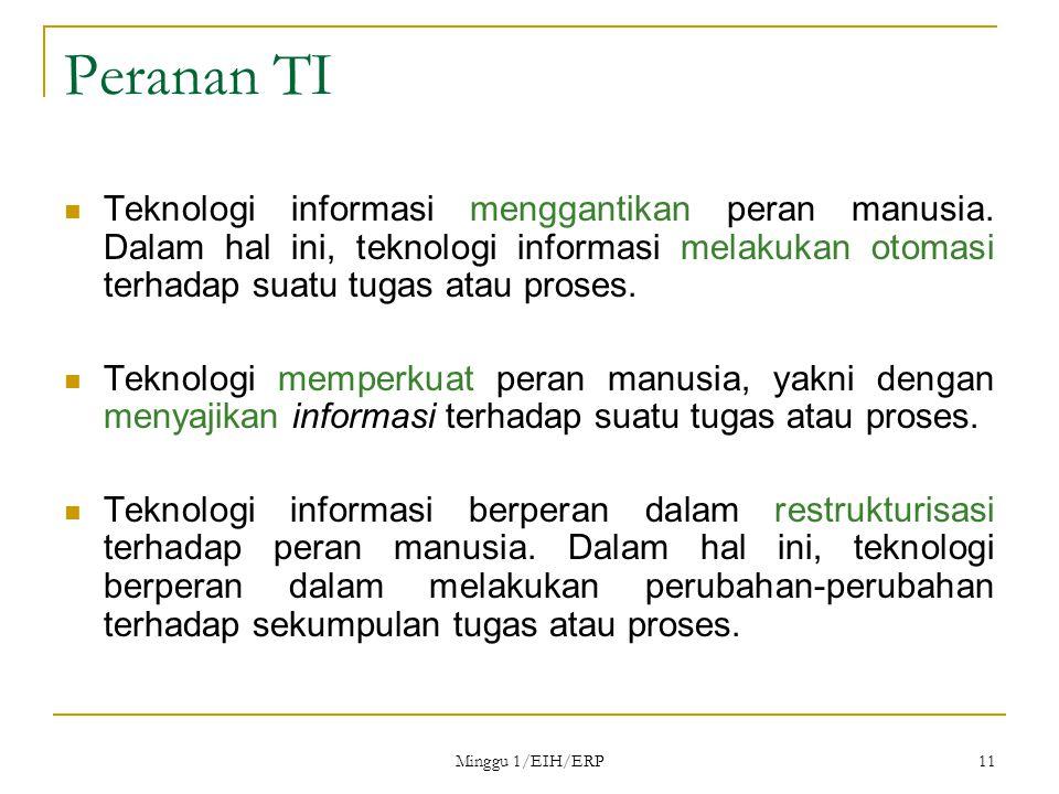 Minggu 1/EIH/ERP 11 Peranan TI Teknologi informasi menggantikan peran manusia.