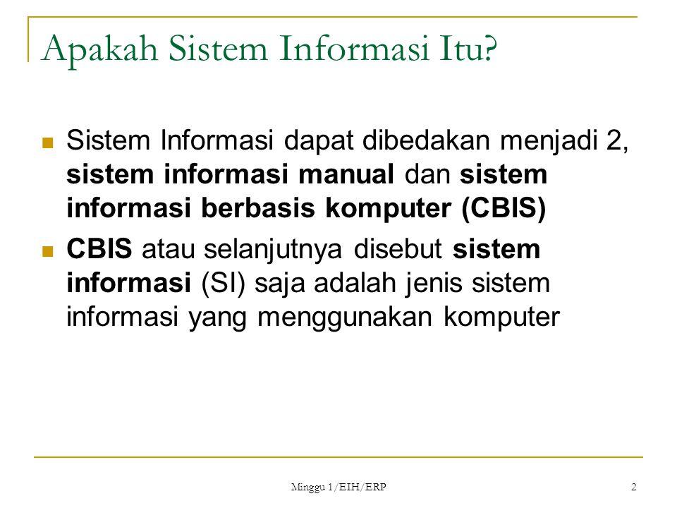Minggu 1/EIH/ERP 13 Pengaruh TI dalam Proses Bisnis Aturan lama:Hanya para pakar yang dapat melaksanakan pekerjaan kompleks Teknologi informasi:Sistem pakar (expert system) Aturan baru:Orang awam dapat melakukan pekerjaan seorang pakar