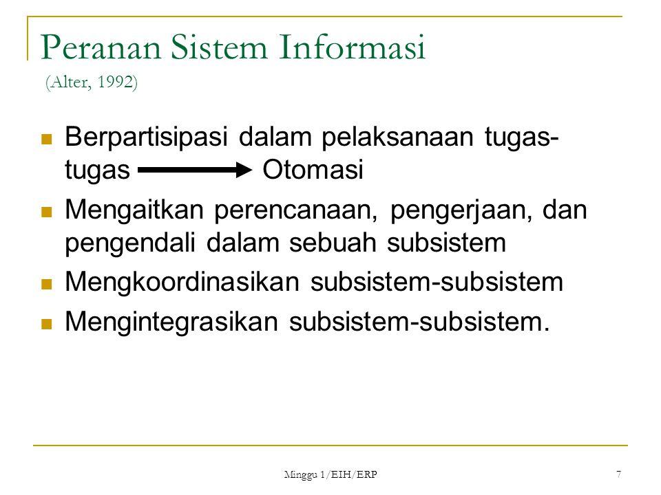 Minggu 1/EIH/ERP 7 Peranan Sistem Informasi (Alter, 1992) Berpartisipasi dalam pelaksanaan tugas- tugas Otomasi Mengaitkan perencanaan, pengerjaan, dan pengendali dalam sebuah subsistem Mengkoordinasikan subsistem-subsistem Mengintegrasikan subsistem-subsistem.