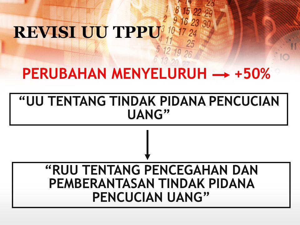 TUJUAN 1.memperkuat rezim anti pencucian uang di Indonesia; 2.mendukung dan meningkatkan efektifitas upaya penegakan hukum; 3.memberikan dasar yang ku
