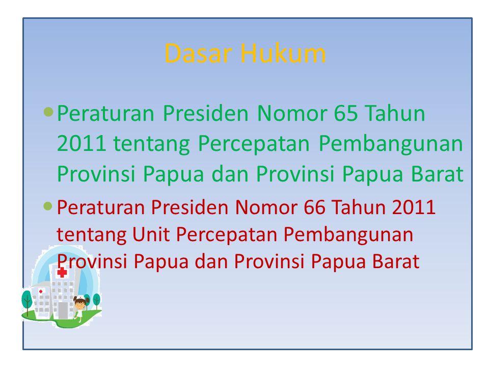 Dasar Hukum Peraturan Presiden Nomor 65 Tahun 2011 tentang Percepatan Pembangunan Provinsi Papua dan Provinsi Papua Barat Peraturan Presiden Nomor 66
