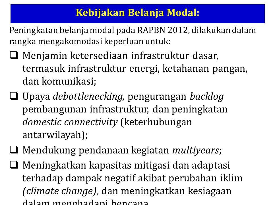 Peningkatan belanja modal pada RAPBN 2012, dilakukan dalam rangka mengakomodasi keperluan untuk:  Menjamin ketersediaan infrastruktur dasar, termasuk