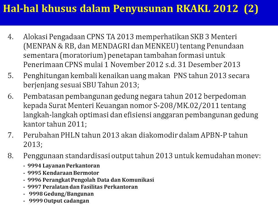Hal-hal khusus dalam Penyusunan RKAKL 2012 (2) 4.Alokasi Pengadaan CPNS TA 2013 memperhatikan SKB 3 Menteri (MENPAN & RB, dan MENDAGRI dan MENKEU) ten