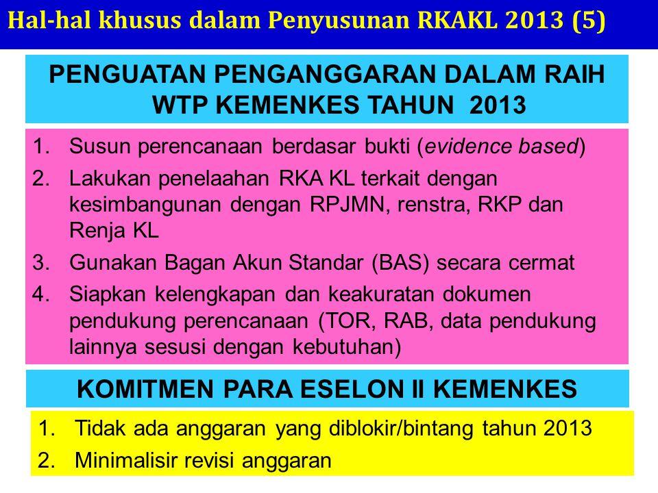 PENGUATAN PENGANGGARAN DALAM RAIH WTP KEMENKES TAHUN 2013 Hal-hal khusus dalam Penyusunan RKAKL 2013 (5) 1.Susun perencanaan berdasar bukti (evidence
