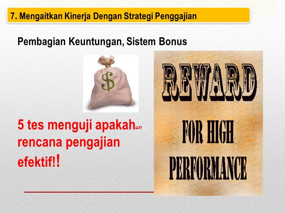 7. Mengaitkan Kinerja Dengan Strategi Penggajian Pembagian Keuntungan, Sistem Bonus 5 tes menguji apakah rencana pengajian efektif! !