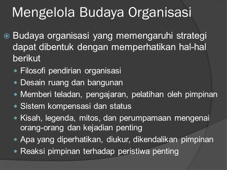 Mengelola Budaya Organisasi  Budaya organisasi yang memengaruhi strategi dapat dibentuk dengan memperhatikan hal-hal berikut Filosofi pendirian organ