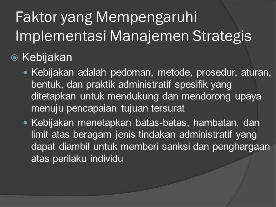 Faktor yang Mempengaruhi Implementasi Manajemen Strategis  Kebijakan Kebijakan adalah pedoman, metode, prosedur, aturan, bentuk, dan praktik administ