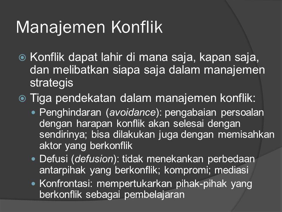 Manajemen Konflik  Konflik dapat lahir di mana saja, kapan saja, dan melibatkan siapa saja dalam manajemen strategis  Tiga pendekatan dalam manajeme