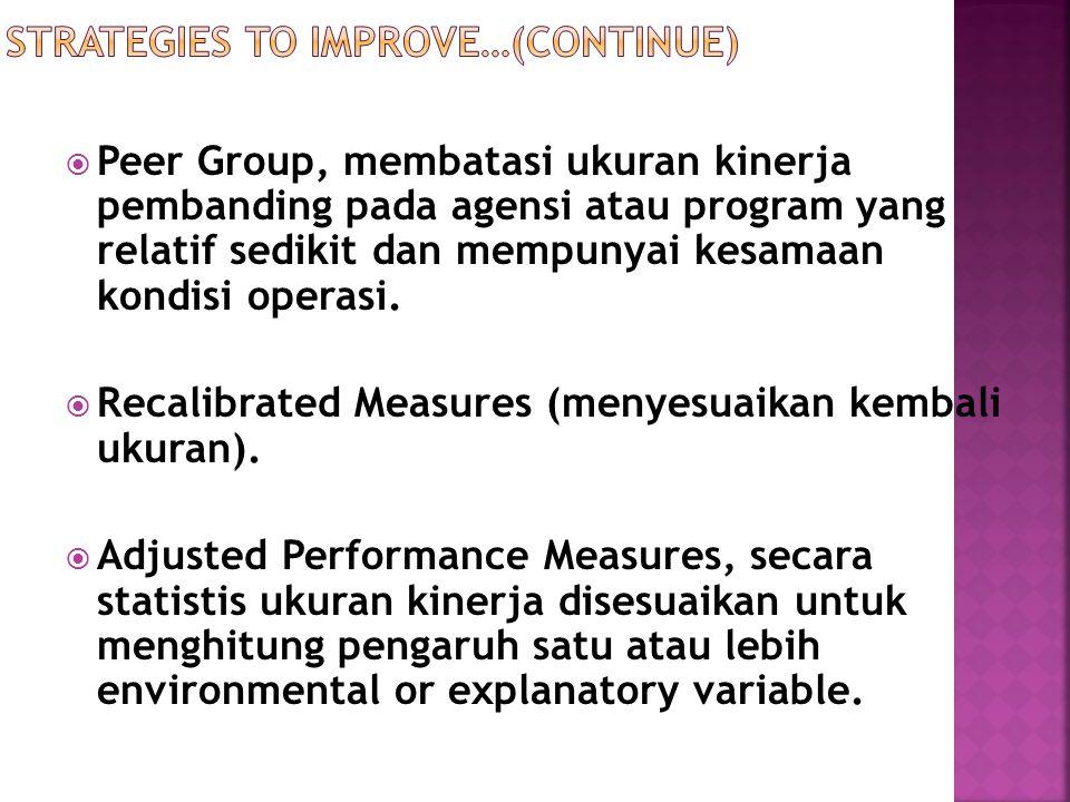  Peer Group, membatasi ukuran kinerja pembanding pada agensi atau program yang relatif sedikit dan mempunyai kesamaan kondisi operasi.