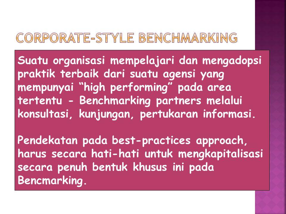Suatu organisasi mempelajari dan mengadopsi praktik terbaik dari suatu agensi yang mempunyai high performing pada area tertentu - Benchmarking partners melalui konsultasi, kunjungan, pertukaran informasi.