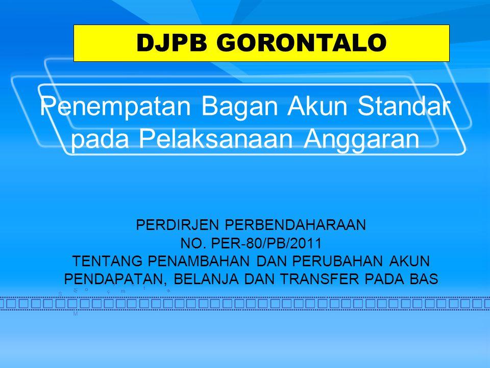 Penempatan Bagan Akun Standar pada Pelaksanaan Anggaran PERDIRJEN PERBENDAHARAAN NO.