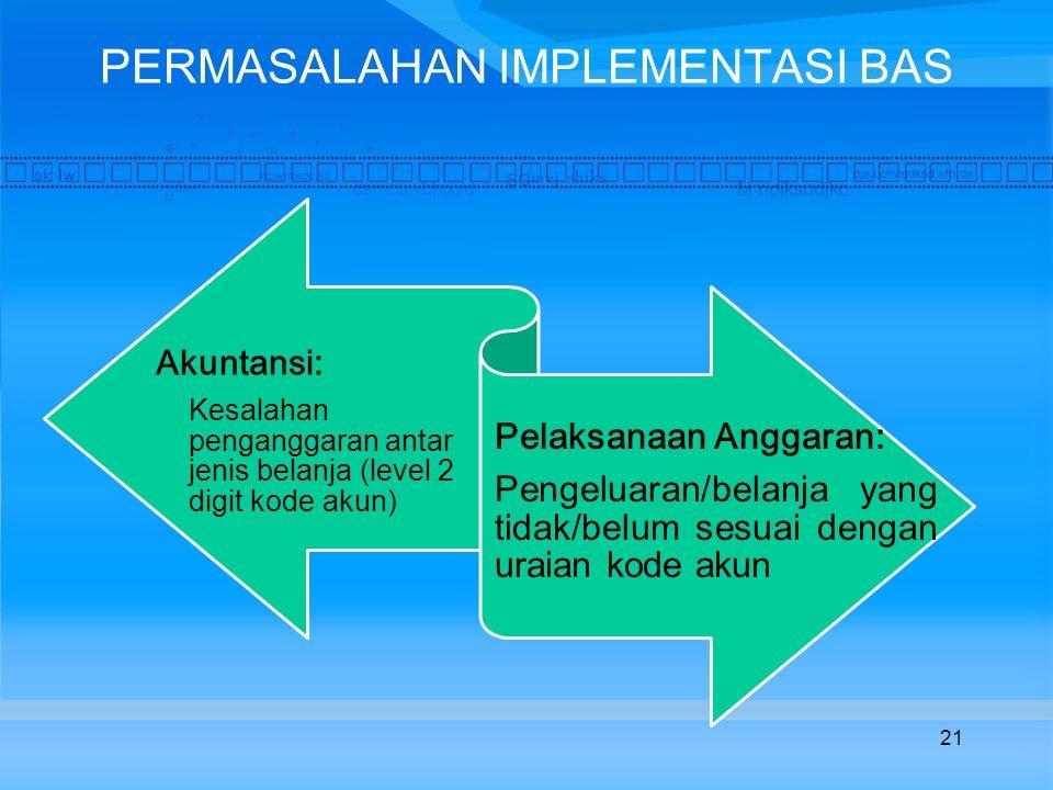 PERMASALAHAN IMPLEMENTASI BAS Akuntansi: Kesalahan penganggaran antar jenis belanja (level 2 digit kode akun) Pelaksanaan Anggaran: Pengeluaran/belanja yang tidak/belum sesuai dengan uraian kode akun 21