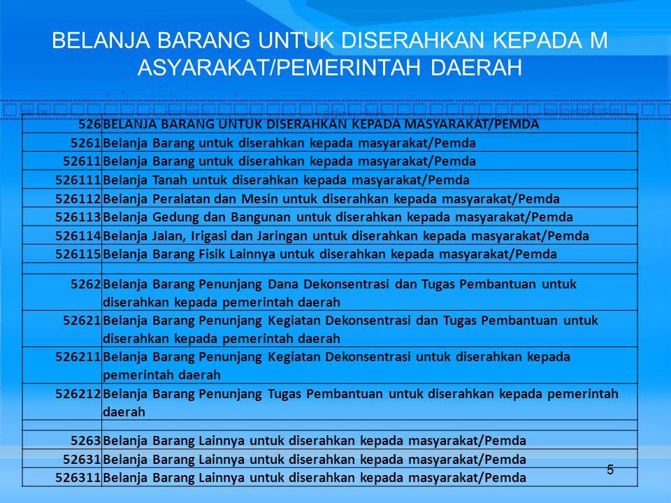BELANJA BARANG UNTUK DISERAHKAN KEPADA M ASYARAKAT/PEMERINTAH DAERAH 526BELANJA BARANG UNTUK DISERAHKAN KEPADA MASYARAKAT/PEMDA 5261Belanja Barang untuk diserahkan kepada masyarakat/Pemda 52611Belanja Barang untuk diserahkan kepada masyarakat/Pemda 526111Belanja Tanah untuk diserahkan kepada masyarakat/Pemda 526112Belanja Peralatan dan Mesin untuk diserahkan kepada masyarakat/Pemda 526113Belanja Gedung dan Bangunan untuk diserahkan kepada masyarakat/Pemda 526114Belanja Jalan, Irigasi dan Jaringan untuk diserahkan kepada masyarakat/Pemda 526115Belanja Barang Fisik Lainnya untuk diserahkan kepada masyarakat/Pemda 5262Belanja Barang Penunjang Dana Dekonsentrasi dan Tugas Pembantuan untuk diserahkan kepada pemerintah daerah 52621Belanja Barang Penunjang Kegiatan Dekonsentrasi dan Tugas Pembantuan untuk diserahkan kepada pemerintah daerah 526211Belanja Barang Penunjang Kegiatan Dekonsentrasi untuk diserahkan kepada pemerintah daerah 526212Belanja Barang Penunjang Tugas Pembantuan untuk diserahkan kepada pemerintah daerah 5263Belanja Barang Lainnya untuk diserahkan kepada masyarakat/Pemda 52631Belanja Barang Lainnya untuk diserahkan kepada masyarakat/Pemda 526311Belanja Barang Lainnya untuk diserahkan kepada masyarakat/Pemda 5