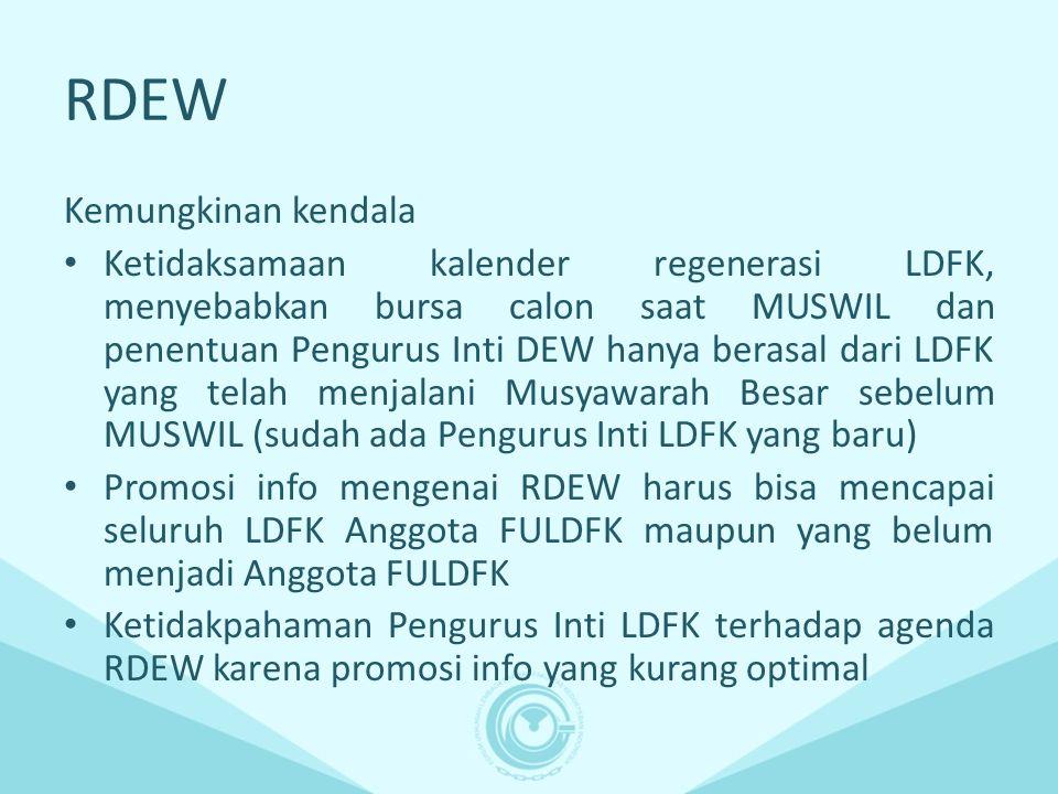 RDEW Kemungkinan kendala Ketidaksamaan kalender regenerasi LDFK, menyebabkan bursa calon saat MUSWIL dan penentuan Pengurus Inti DEW hanya berasal dar