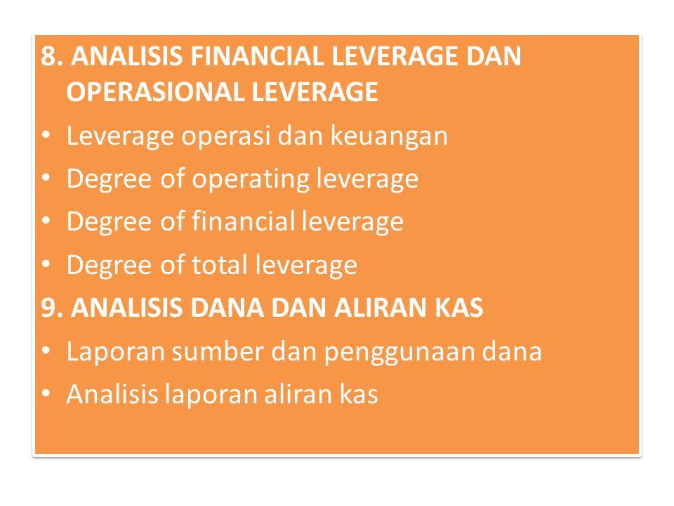 8. ANALISIS FINANCIAL LEVERAGE DAN OPERASIONAL LEVERAGE Leverage operasi dan keuangan Degree of operating leverage Degree of financial leverage Degree