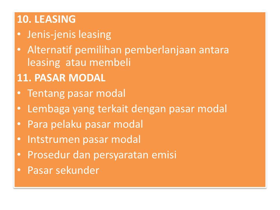 10. LEASING Jenis-jenis leasing Alternatif pemilihan pemberlanjaan antara leasing atau membeli 11. PASAR MODAL Tentang pasar modal Lembaga yang terkai