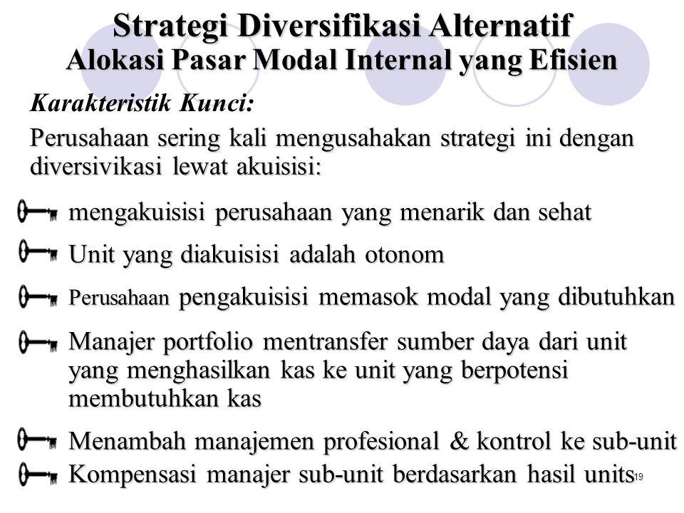 18 Strategi Diversivikasi Alternatif Strategi Diversifiksi yang Berhubungan Strategi Diversifikasi yang Tak Berhubungan Berbagi Aktivitas Mentransfer Kompetensi Inti Alokasi Pasar Modal internal yang Efisien Restrukturisasi