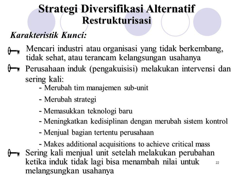 21 Strategi Diversifikasi Alternatif Strategi Diversifiksi yang Berhubungan Strategi Diversifikasi yang Tak Berhubungan Berbagi Aktivitas Mentransfer Kompetensi Inti Alokasi Pasar Modal internal yang Efisien Restrukturisasi