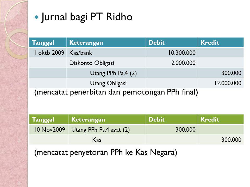 Jurnal bagi PT Ridho (mencatat penerbitan dan pemotongan PPh final) (mencatat penyetoran PPh ke Kas Negara) TanggalKeteranganDebitKredit 1 oktb 2009Ka
