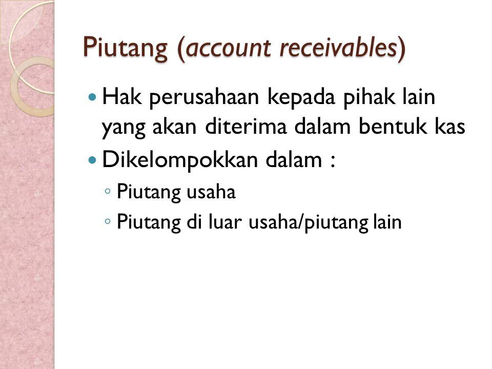 Piutang (account receivables) Hak perusahaan kepada pihak lain yang akan diterima dalam bentuk kas Dikelompokkan dalam : ◦ Piutang usaha ◦ Piutang di luar usaha/piutang lain