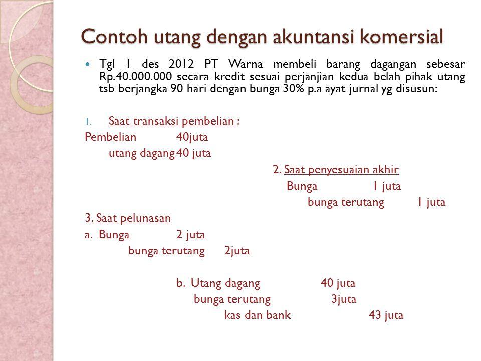 Contoh utang dengan akuntansi komersial Tgl 1 des 2012 PT Warna membeli barang dagangan sebesar Rp.40.000.000 secara kredit sesuai perjanjian kedua be