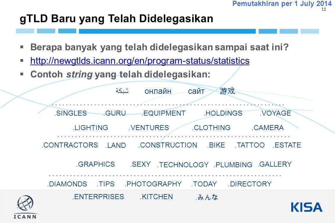 11 Pemutakhiran per 1 July 2014  Berapa banyak yang telah didelegasikan sampai saat ini.