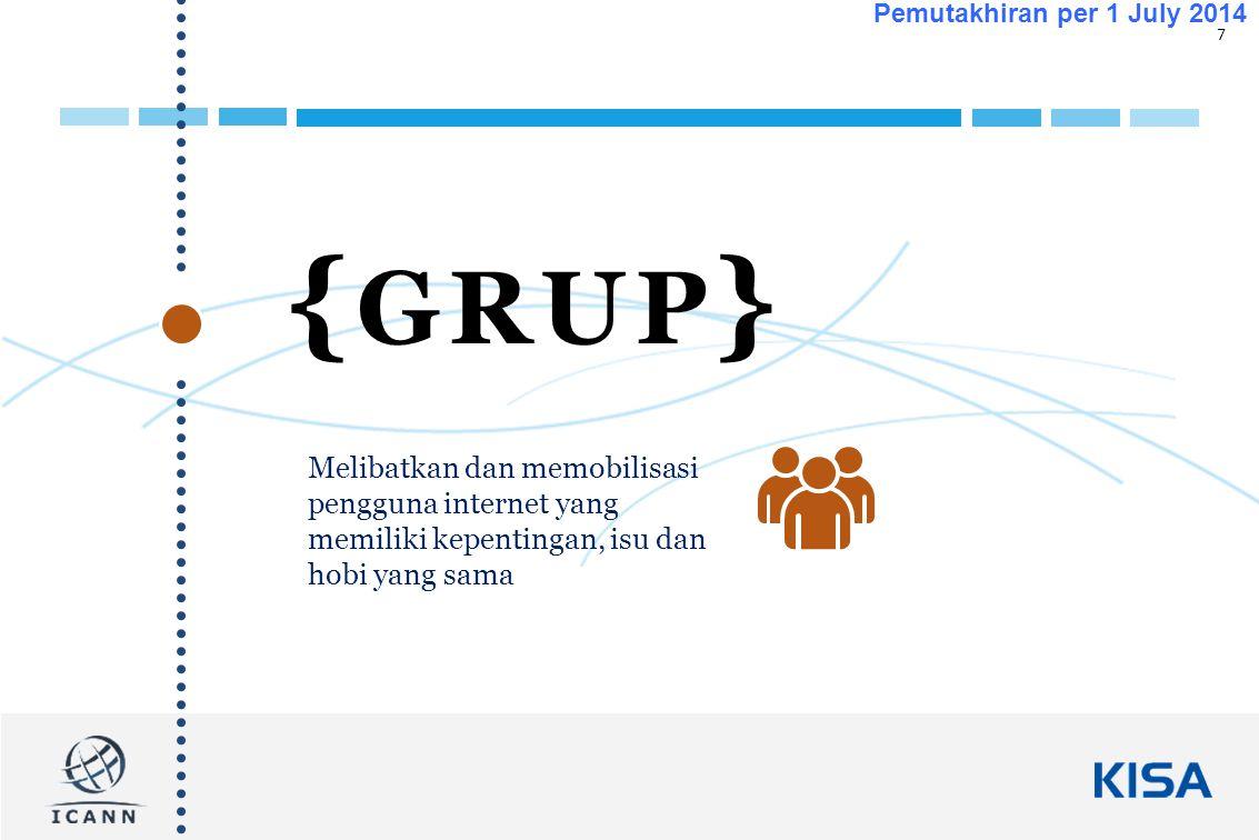 7 Pemutakhiran per 1 July 2014 { GRUP } Melibatkan dan memobilisasi pengguna internet yang memiliki kepentingan, isu dan hobi yang sama