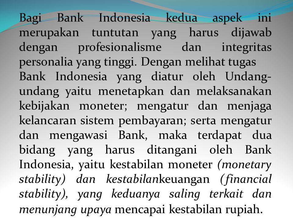 Aspek kedua, tujuan Bank Indonesia yang lebih terfokus, yaitu mencapai dan memelihara kestabilan nilai rupiah. Secara bersama-sama, aspek pertama dan