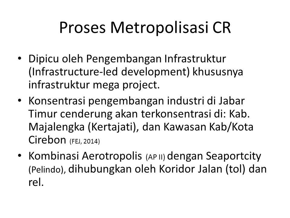 Proses Metropolisasi CR Dipicu oleh Pengembangan Infrastruktur (Infrastructure-led development) khususnya infrastruktur mega project. Konsentrasi peng
