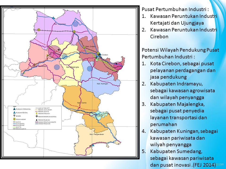 Pusat Pertumbuhan Industri : 1.Kawasan Peruntukan Industri Kertajati dan Ujungjaya 2.Kawasan Peruntukan Industri Cirebon Potensi Wilayah Pendukung Pus