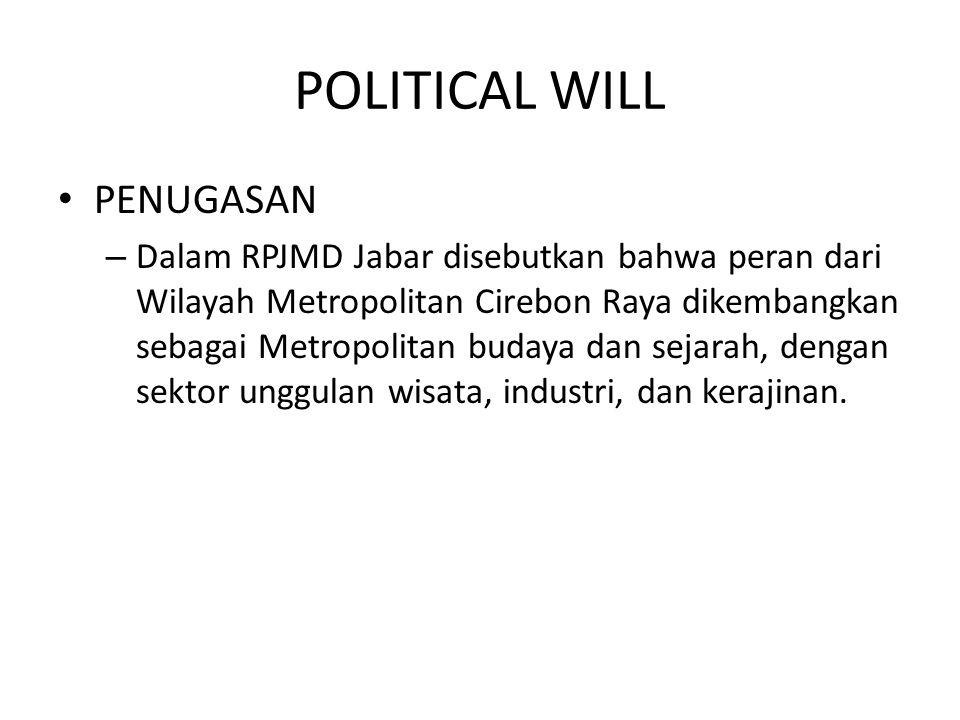 POLITICAL WILL PENUGASAN – Dalam RPJMD Jabar disebutkan bahwa peran dari Wilayah Metropolitan Cirebon Raya dikembangkan sebagai Metropolitan budaya da