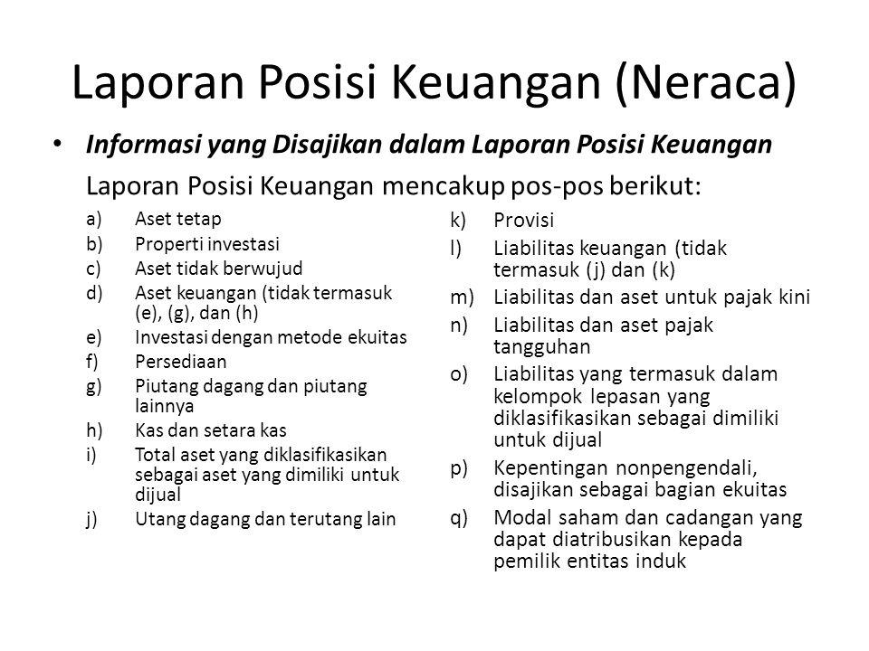 Laporan Posisi Keuangan (Neraca) Informasi yang Disajikan dalam Laporan Posisi Keuangan Laporan Posisi Keuangan mencakup pos-pos berikut: a)Aset tetap