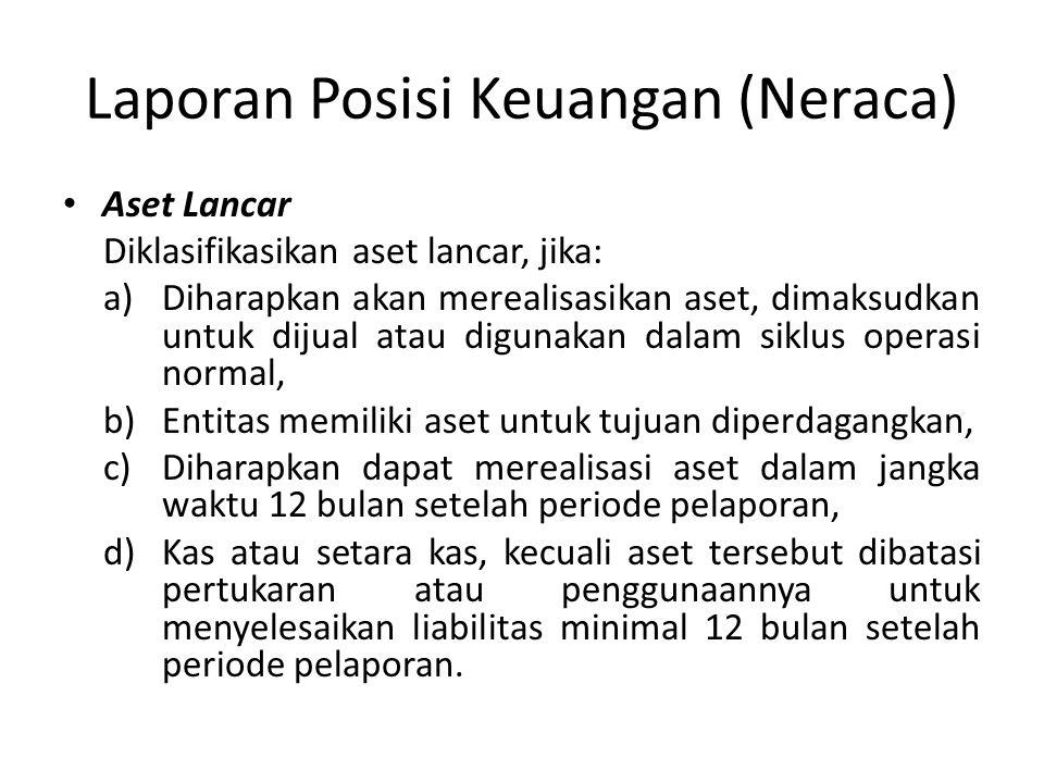 Laporan Posisi Keuangan (Neraca) Aset Lancar Diklasifikasikan aset lancar, jika: a)Diharapkan akan merealisasikan aset, dimaksudkan untuk dijual atau