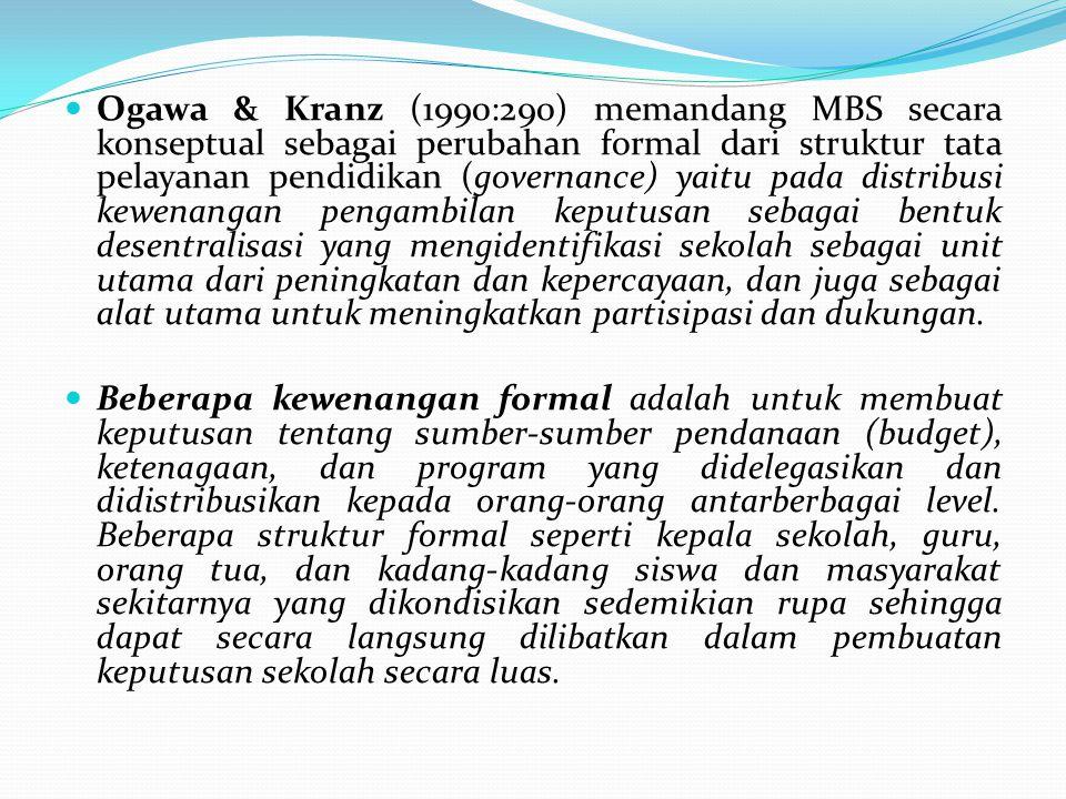 Ogawa & Kranz (1990:290) memandang MBS secara konseptual sebagai perubahan formal dari struktur tata pelayanan pendidikan (governance) yaitu pada dist