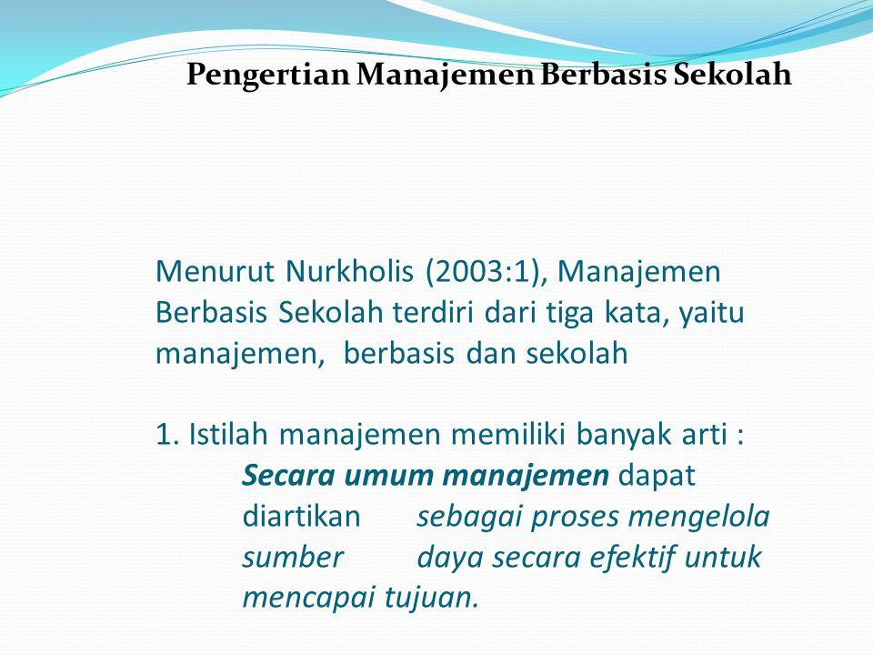 Menurut Nurkholis (2003:1), Manajemen Berbasis Sekolah terdiri dari tiga kata, yaitu manajemen, berbasis dan sekolah 1. Istilah manajemen memiliki ban