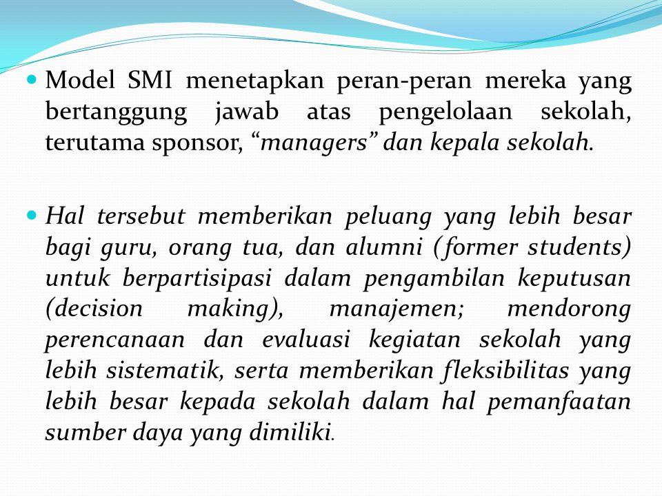 """Model SMI menetapkan peran-peran mereka yang bertanggung jawab atas pengelolaan sekolah, terutama sponsor, """"managers"""" dan kepala sekolah. Hal tersebut"""