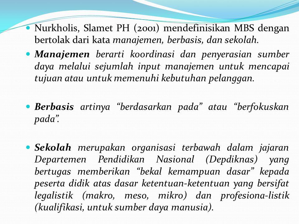 MBS adalah pengkoordinasian dan penyerasian sumber daya yang dilakukan secara otonom (mandiri) oleh sekolah melalui sejumlah input manajemen untuk mencapai tujuan sekolah dalam kerangka pendidikan nasional, dengan melibatkan semua kelompok kepentingan yang terkait dengan sekolah secara langsung dalam proses pengambilan keputusan (partisipatif).