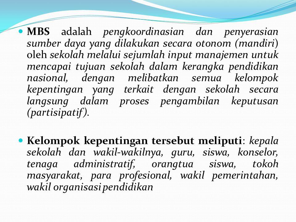 MBS adalah pengkoordinasian dan penyerasian sumber daya yang dilakukan secara otonom (mandiri) oleh sekolah melalui sejumlah input manajemen untuk men