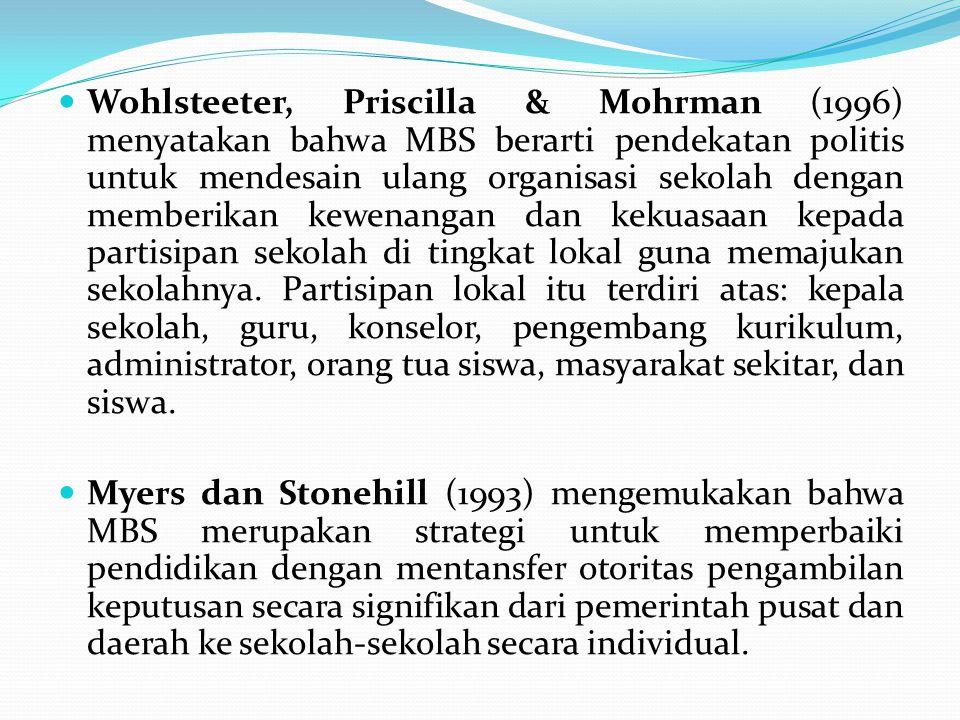 Wohlsteeter, Priscilla & Mohrman (1996) menyatakan bahwa MBS berarti pendekatan politis untuk mendesain ulang organisasi sekolah dengan memberikan kew