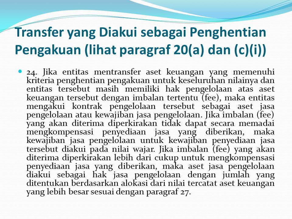 Transfer yang Diakui sebagai Penghentian Pengakuan (lihat paragraf 20(a) dan (c)(i)) 24.