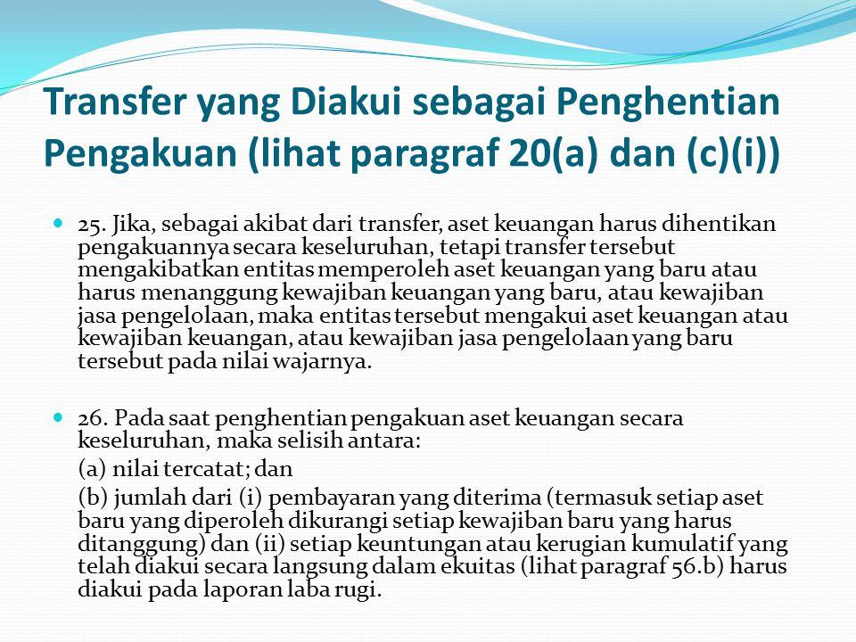 Transfer yang Diakui sebagai Penghentian Pengakuan (lihat paragraf 20(a) dan (c)(i)) 25.