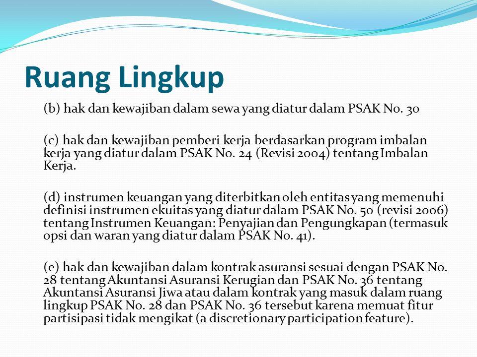Ruang Lingkup (b) hak dan kewajiban dalam sewa yang diatur dalam PSAK No.